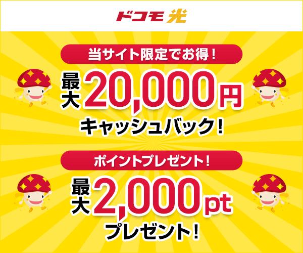 最大15,000円キャッシュバックさらにdポイントもプレゼント【ドコモ光 】